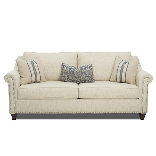 Klaussner Langley Sofa with Nailhead Trim and Toss Pillows