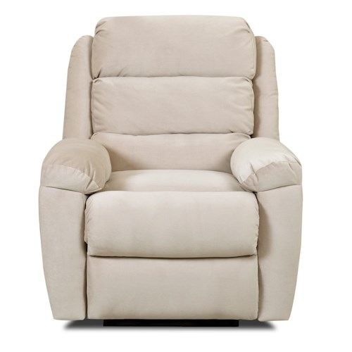 Klaussner Lanier Casual Reclining Chair with Plush Pillow Arms