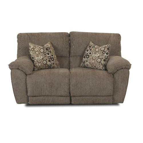 Klaussner Laredo  Contemporary Styled Power Reclining Loveseat with Pillows