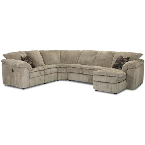 Klaussner Legacy Left Arm Reclining Love Seat and Right Arm Chaise Sectional