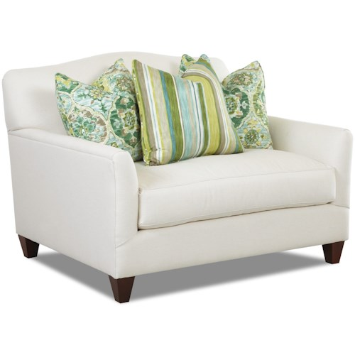 Klaussner Leighton Contemporary Chair with Bench Seat Cushion and Camel Back