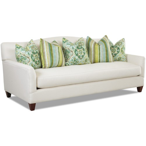 Klaussner Leighton Contemporary Stationary Sofa with Bench Seat Cushion and Camel Back