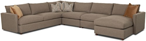 Klaussner Leisure Casual Sectional Sofa With Raf Chaise
