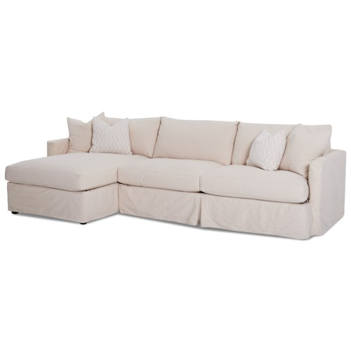 Klaussner Leisure 2 Pc Sectional Sofa with Slipcover and LAF Chaise