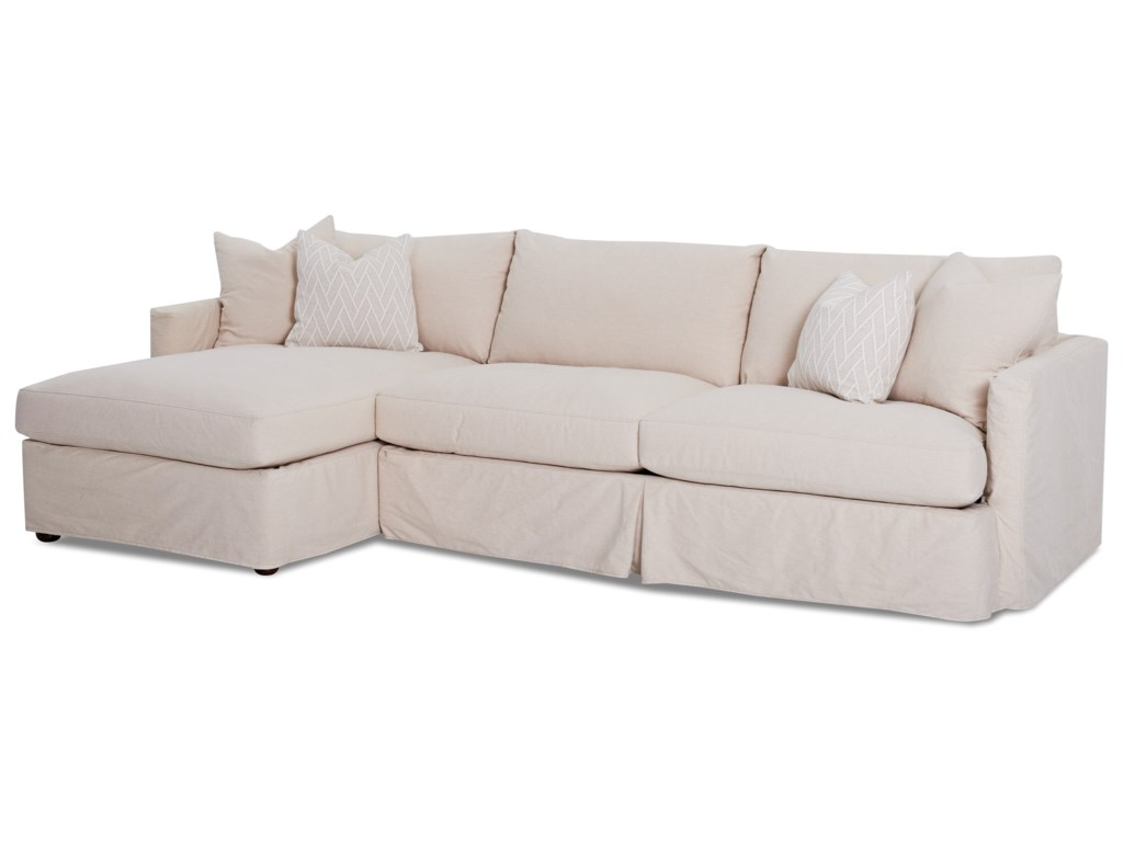 Leisure 2 Pc Sectional Sofa with Slipcover and LAF Chaise by Klaussner at  Novello Home Furnishings