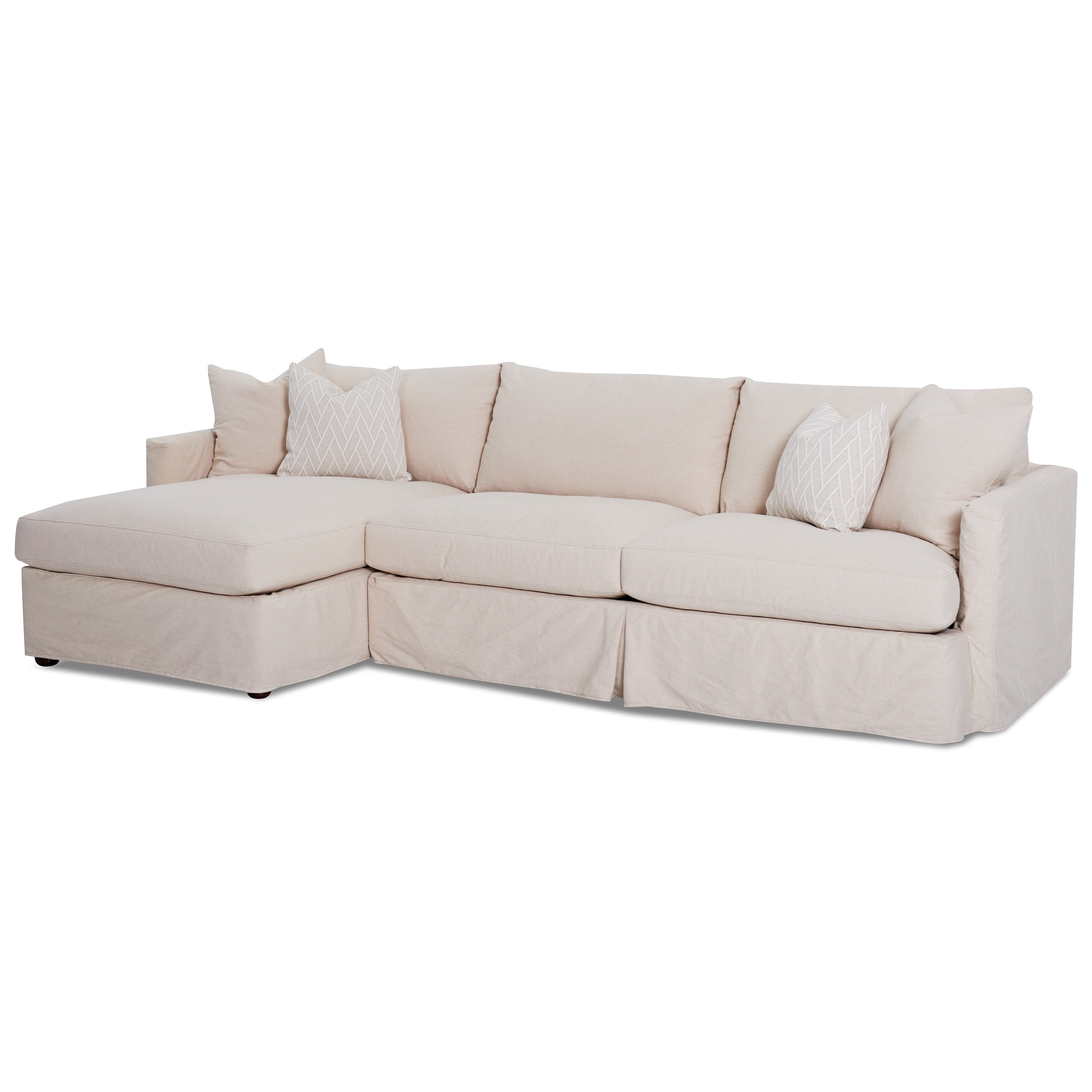 Leisure 2 Pc Sectional Sofa With Slipcover And LAF Chaise By Klaussner