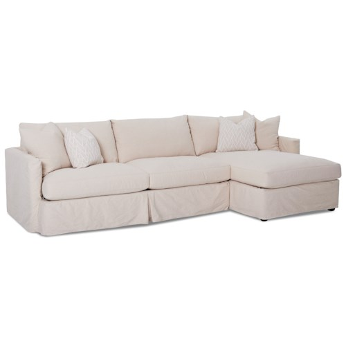 Klaussner Leisure 2 Pc Sectional Sofa with Slipcover and RAF Chaise