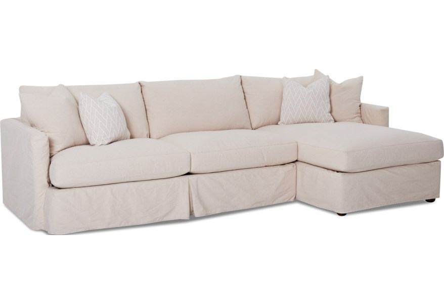 Leisure 2 Pc Sectional Sofa with Slipcover and RAF Chaise by Klaussner at  Dunk & Bright Furniture