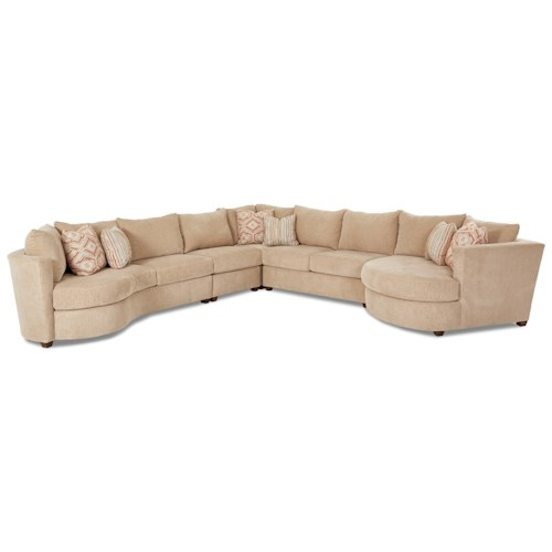 Klaussner LIA Contemporary 5 Piece Sectional with Right Arm Facing Cuddler