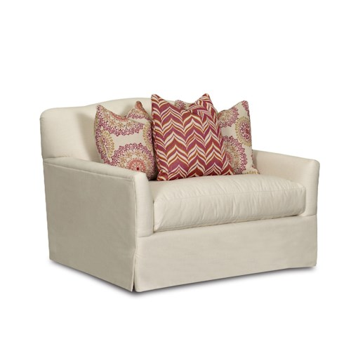 Klaussner Lindsey Transitional Chair with Bench Seat Cushion, Camel Back and Waterfall Skirt