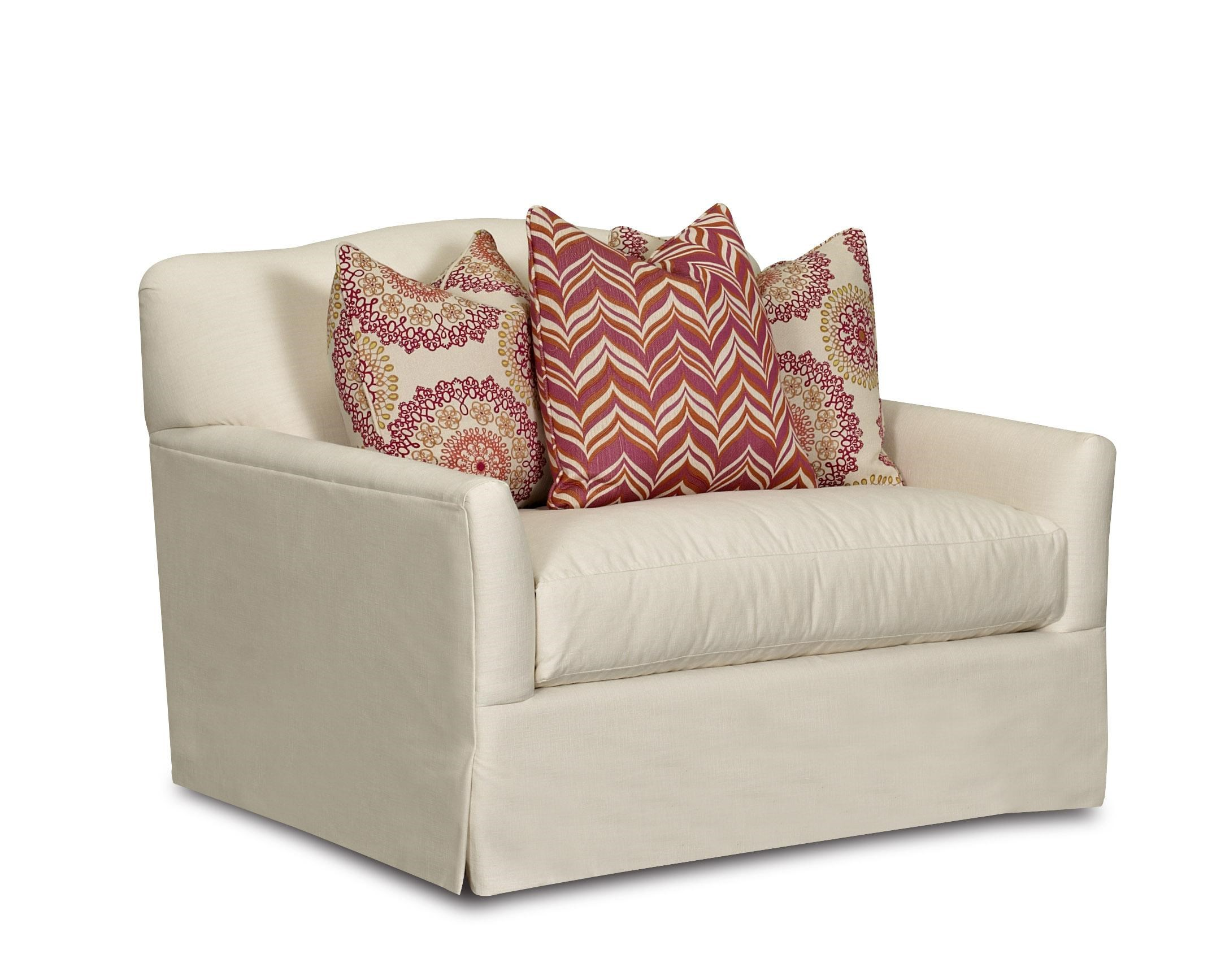 Klaussner Lindsey Transitional Chair With Bench Seat Cushion, Camel Back  And Waterfall Skirt | Novello Home Furnishings | Upholstered Chairs