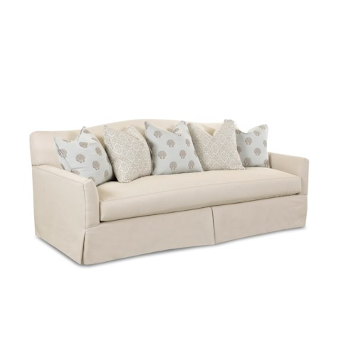 Klaussner Lindsey Transitional Stationary Sofa with Bench Seat Cushion, Camel Back and Waterfall Skirt
