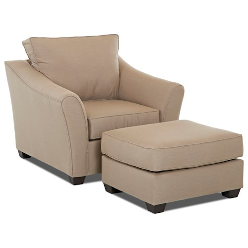 Klaussner Linville Contemporary Chair and Ottoman Set