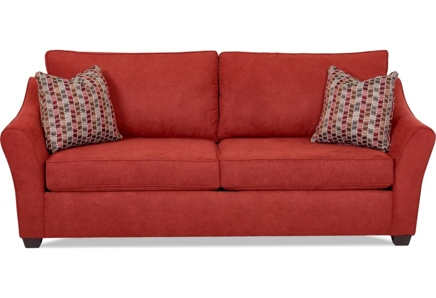 Linville Contemporary Sofa with Flared Arms by Klaussner at Dunk & Bright  Furniture