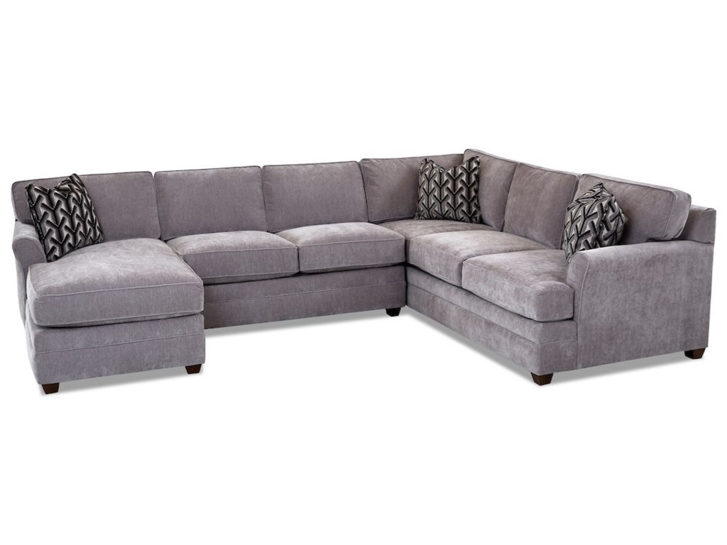 Living Your Way Transitional 3-Piece Sectional Sofa with LAF Chaise by  Klaussner at Pilgrim Furniture City