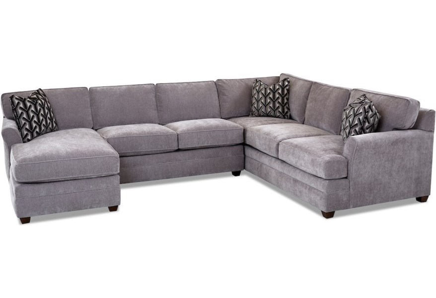 Living Your Way Transitional 3-Piece Sectional Sofa with LAF Chaise by  Klaussner at Dunk & Bright Furniture