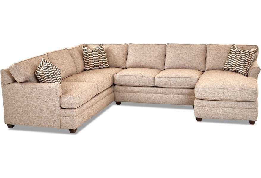 Living Your Way Transitional 3-Piece Sectional Sofa with RAF Chaise by  Klaussner at Dunk & Bright Furniture