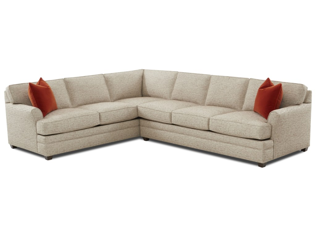 Klaussner Living Your Way Transitional Flare Arm 2-Piece Sectional ...
