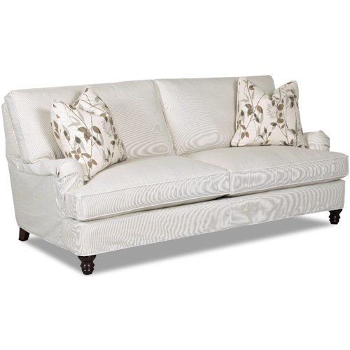 Klaussner Loewy Traditional Stationary Sofa with Slip Cover and Charles of London Arms