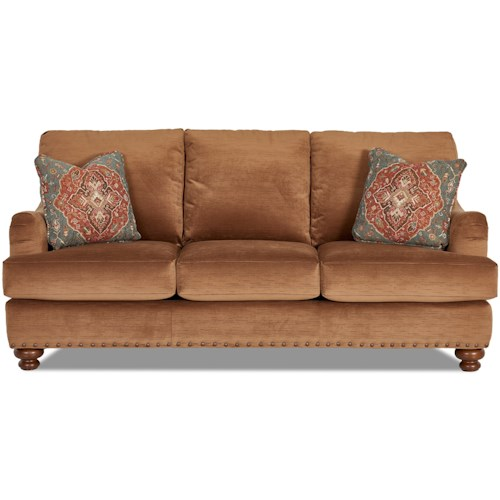 Klaussner Loxley Nailhead-Studded Sofa with English Arms and Toss Pillows