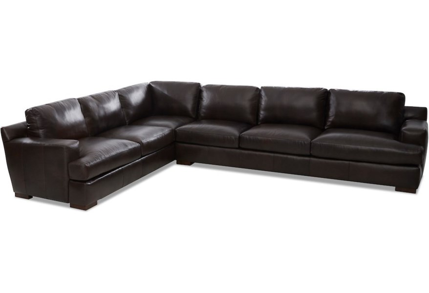 Klaussner Lyon Ld27300l Crns R S Sassari Brown Contemporary 5 Seat Leather Sectional Sofa With Raf Sofa Pilgrim Furniture City Sectional Sofas