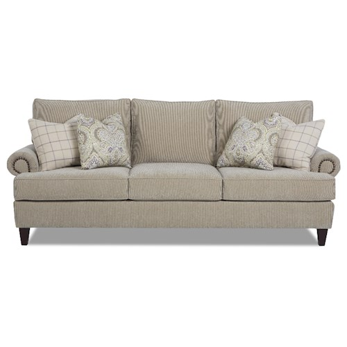 Klaussner Madison Traditional Stationary Sofa with Nailhead Trim