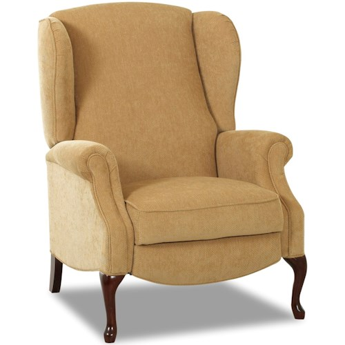 Klaussner Mahogany Traditional High Leg Reclining Chair