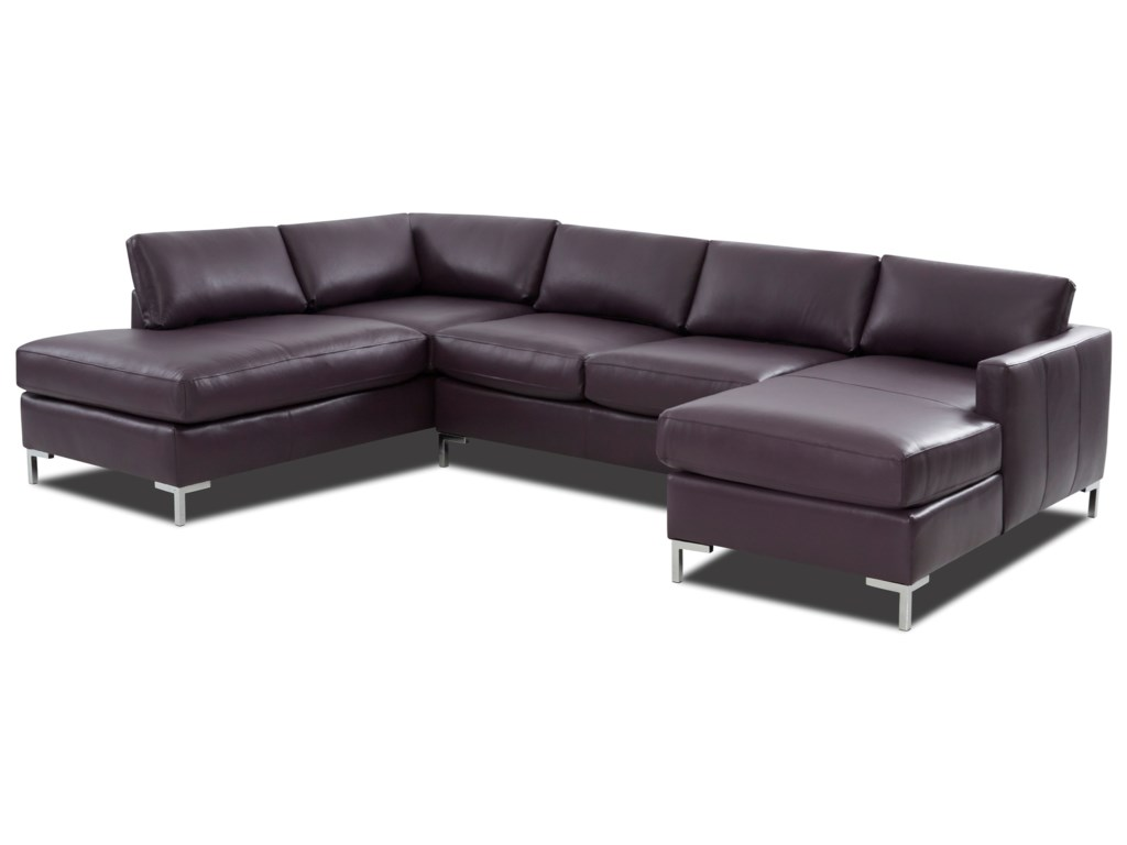 Marisol Contemporary 4-Seat U-Shape Sectional Sofa with LAF Sofa Chaise by  Klaussner at Dunk & Bright Furniture