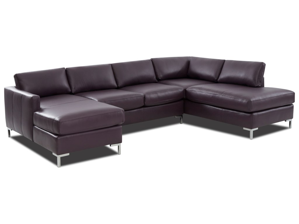 Marisol Contemporary 4-Seat U-Shape Sectional Sofa with RAF Sofa ...