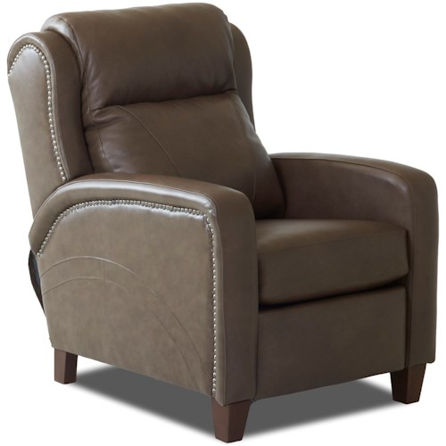 Klaussner Mason Transitional Power High Leg Reclining Chair with Nailheads and Power Headrest & Lumbar