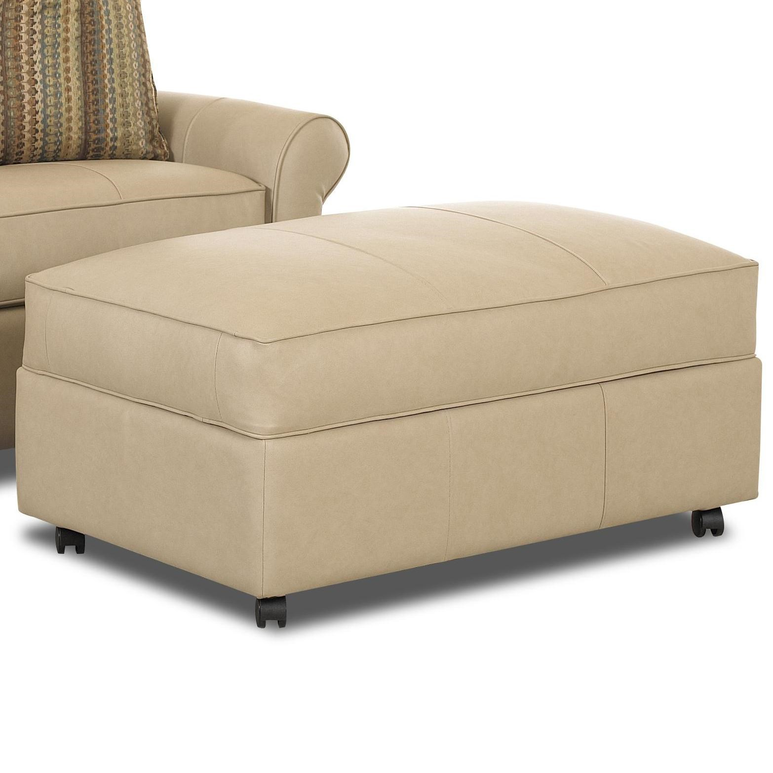 Klaussner Mayhew Large Rectangular Storage Ottoman With Casters