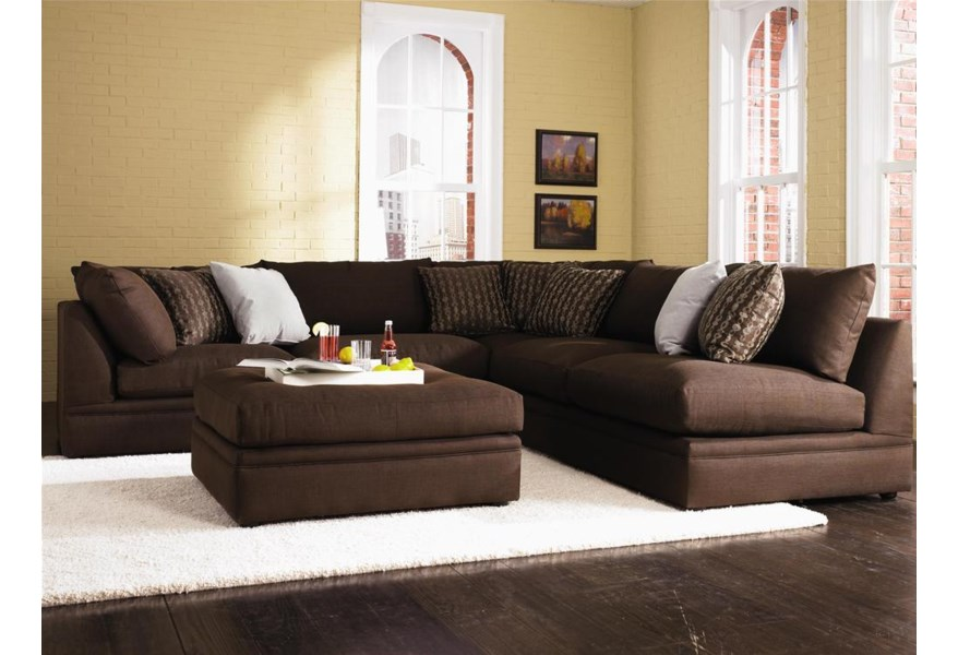 Melrose Place 4-Piece Sectional with Two Corner Chairs by Klaussner at Dunk  & Bright Furniture