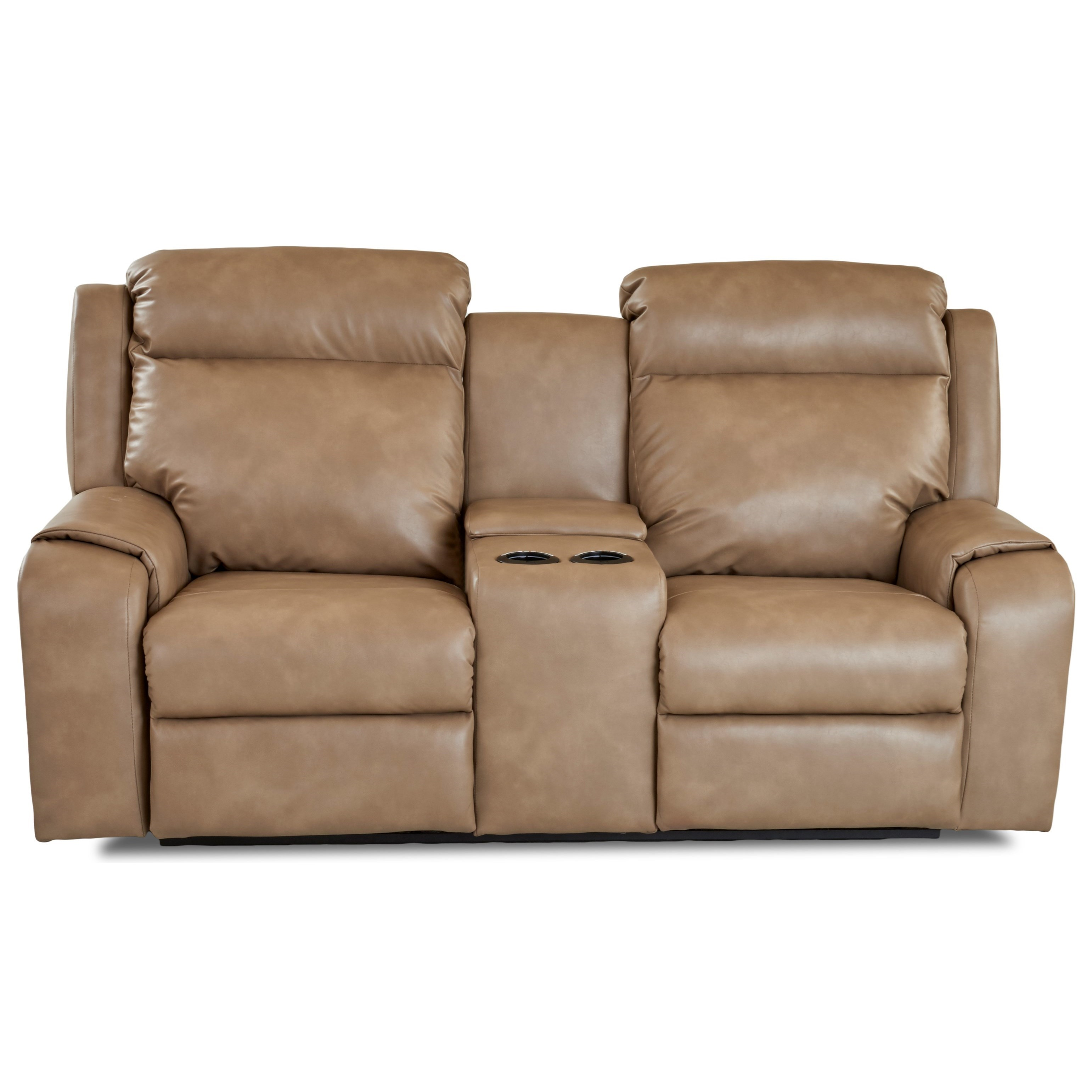 Klaussner MerlinPower Reclining Loveseat W Console  Recliner With Cup Holder And Storage F42