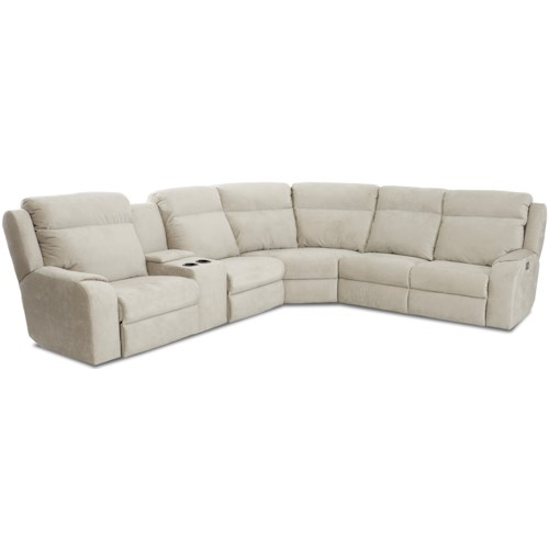 Klaussner Merlin Four Seat Reclining Sectional Sofa with Cupholder Storage Console