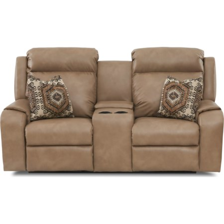Console Reclining Loveseat w/ Toss Pillows