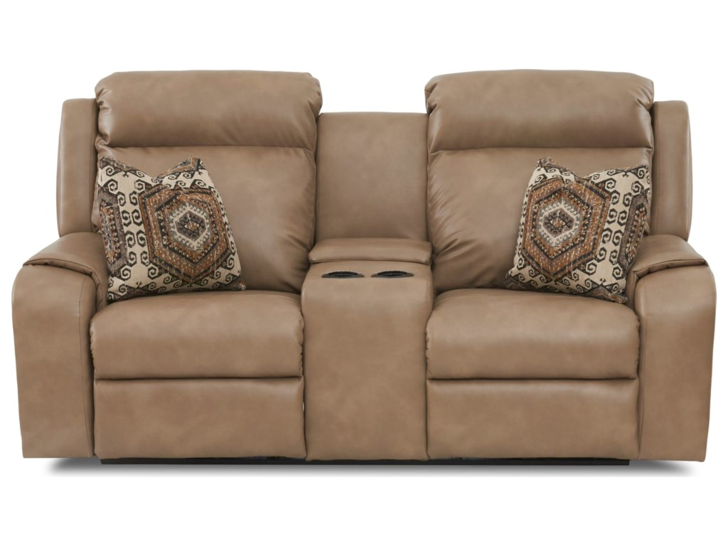 Klaussner MerlinConsole Reclining Loveseat w/ Toss Pillows