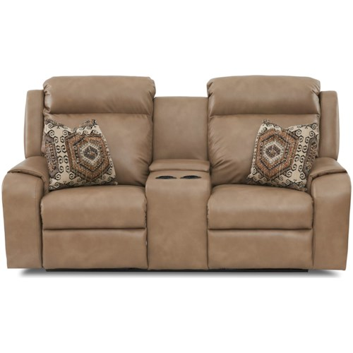 Klaussner Merlin Reclining Loveseat with Cupholder Storage Console and Toss Pillows