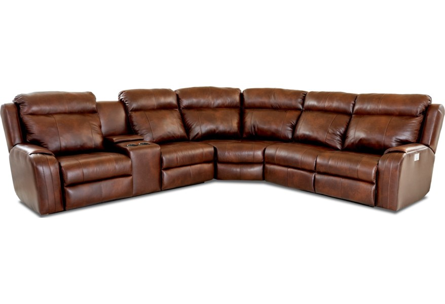 Merlin Four Seat Reclining Sectional Sofa with Cupholder Storage Console by  Klaussner at Northeast Factory Direct
