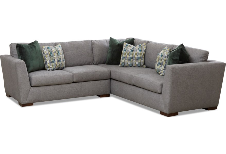 Klaussner Milo Contemporary 2 Piece Sectional With Block Feet