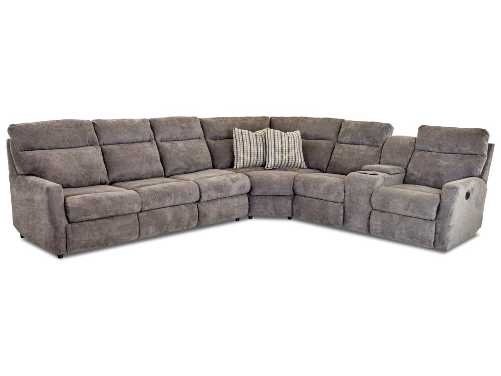 Daphne 5-Seat Power Reclining Sectional Sofa with Left Arm Facing  Innerspring Sleeper Mattress by Klaussner at Dunk & Bright Furniture