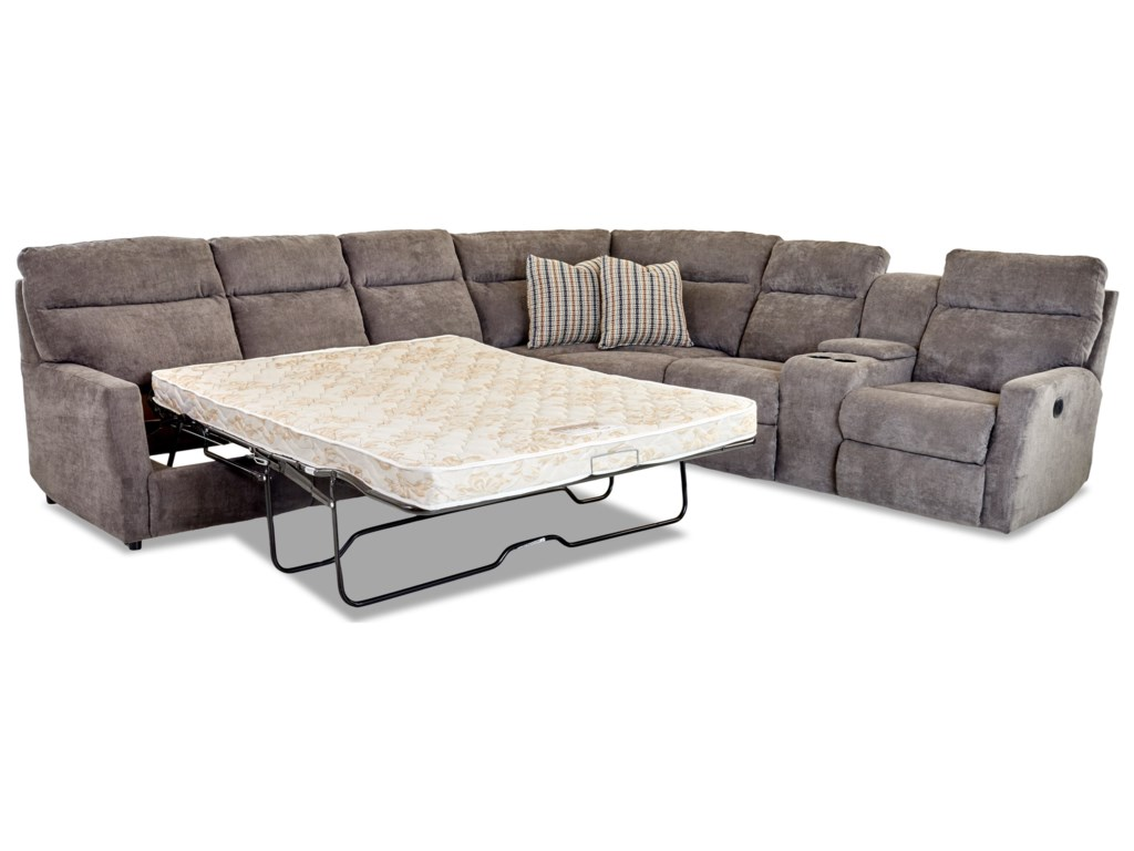 Simple Elegance Daphne5-Seat PwReclining Sectional w/  LAF Sleeper