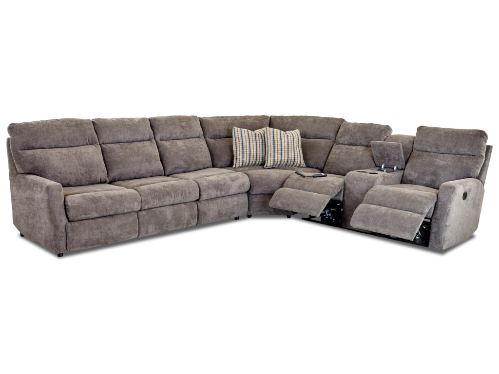 Klaussner Daphne5-Seat Reclining Sectional w/  LAF Sleeper