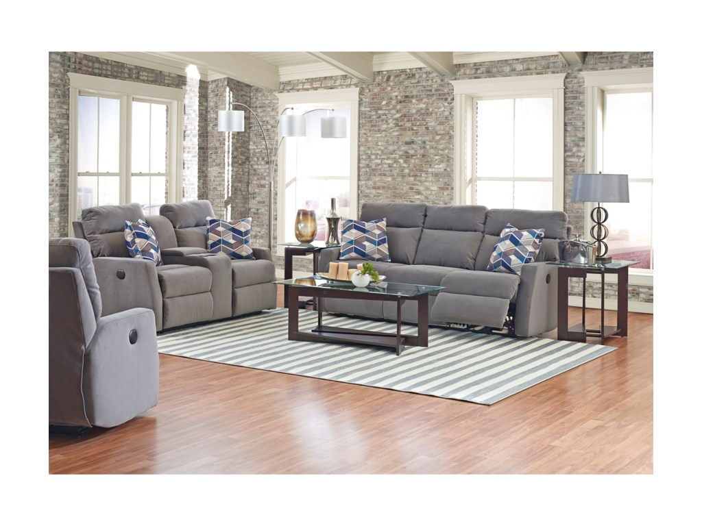 Simple Elegance DaphnePower Reclining Sofa w/ Pillows