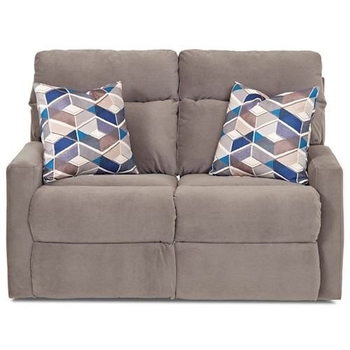 Klaussner Monticello Reclining Loveseat with Track Arms and Pillows