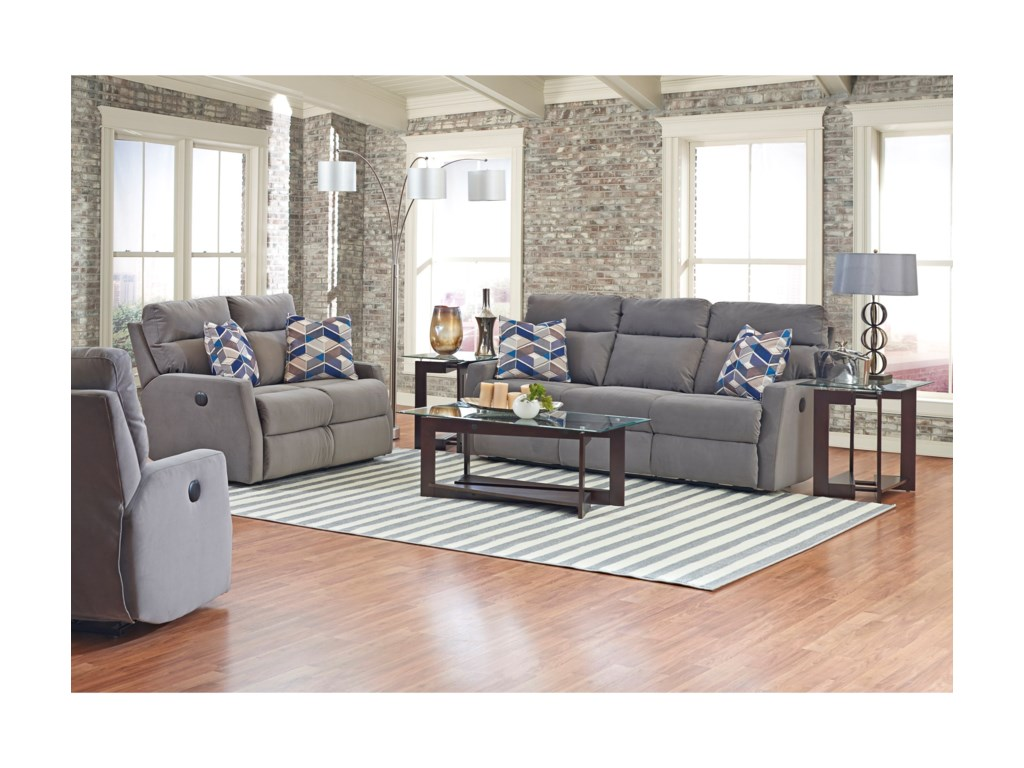 Simple Elegance DaphnePower Reclining Loveseat w/ Pillows