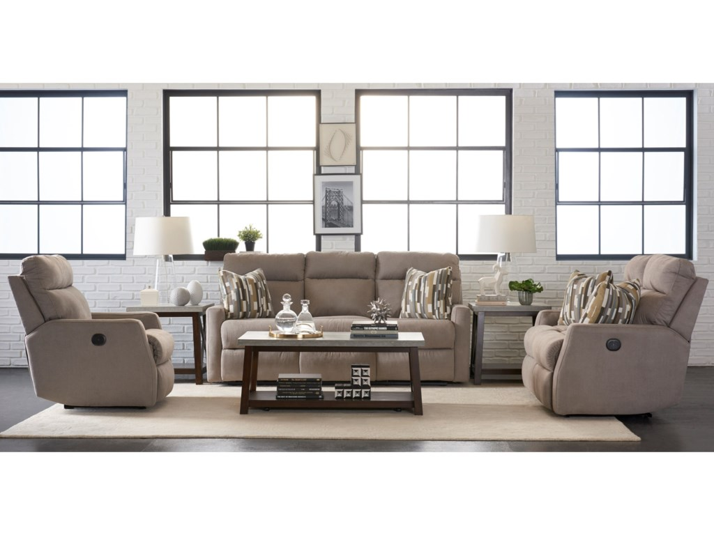 Simple Elegance DaphneReclining Sofa w/ Pillows