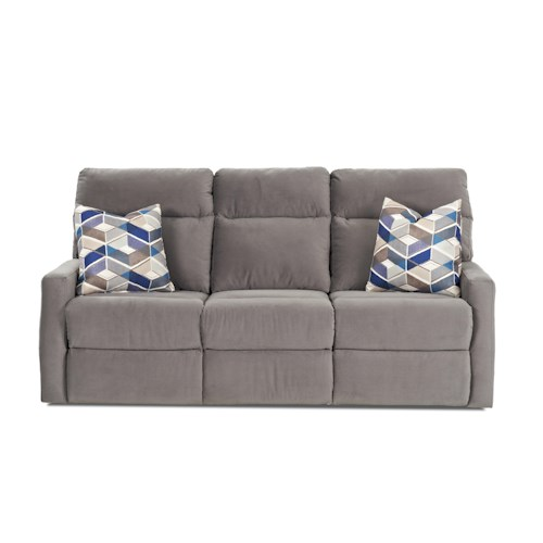 Klaussner Monticello Reclining Sofa with Soft Track Arms and Pillows