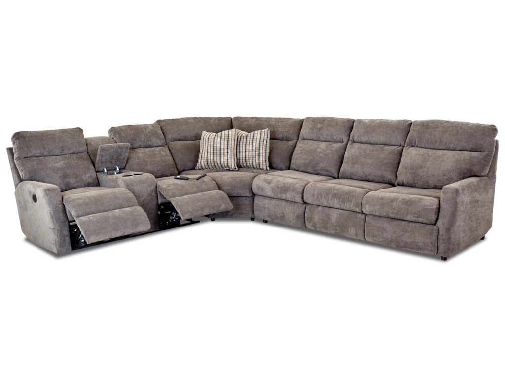 Klaussner Daphne5-Seat Reclining Sectional w/  RAF Sleeper