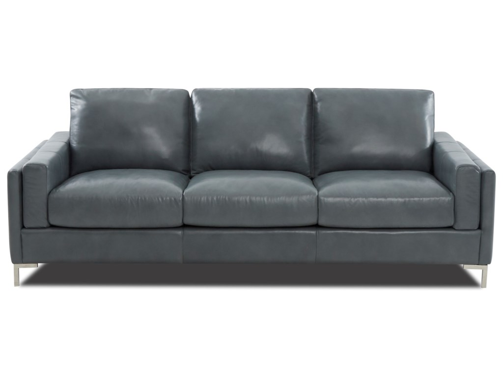 Mystique Contemporary Leather Sofa With Metal Legs By Klaussner At Wayside Furniture