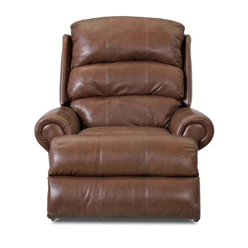 Klaussner Norman Transitional Reclining Rocking Chair with Split Back and Rolled Arms